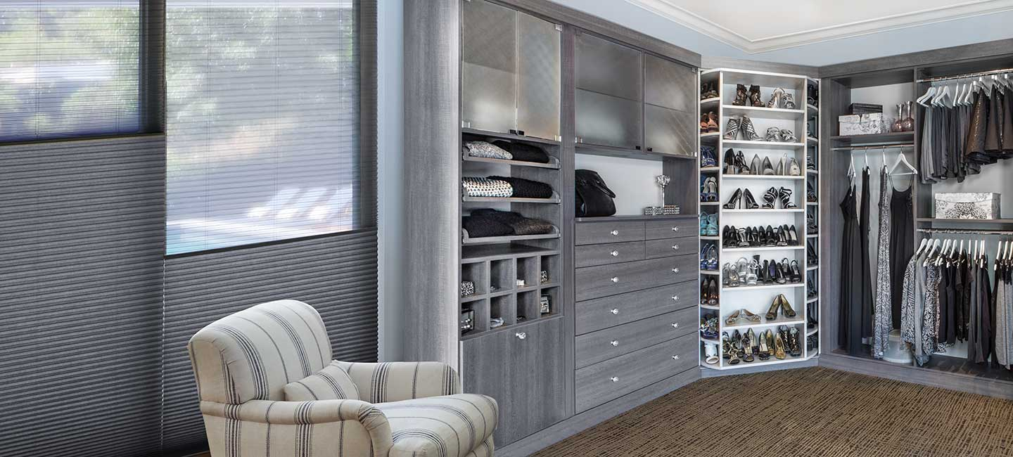 Hunter Douglas Duette Duolite window treatment in walk in closet with 360 Organizer