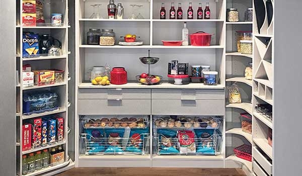 shallow walk-in closet transforms into optimal pantry shelving