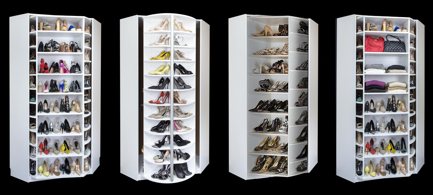 Closet with 360 Organizer Shoe Spinner including cabinet and custom shoe rack