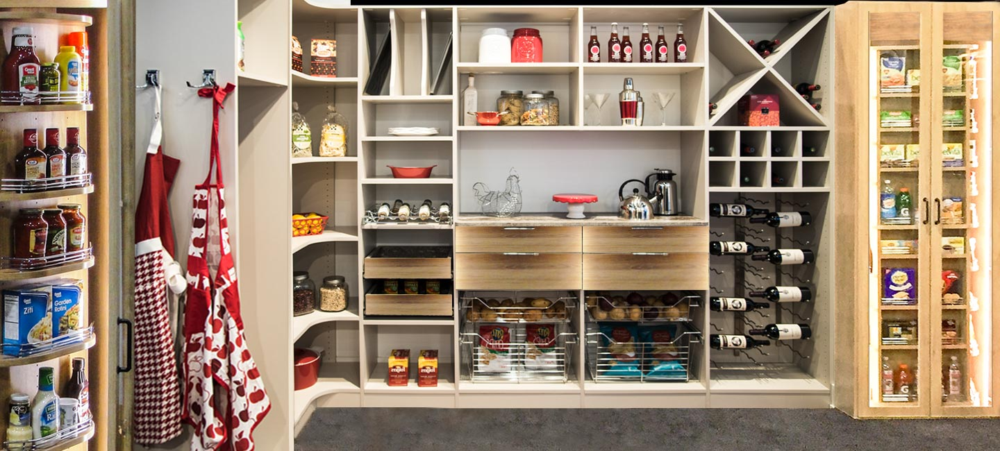 The 360 Organizer pantry includes shelves with rails and corner pantry cabinets