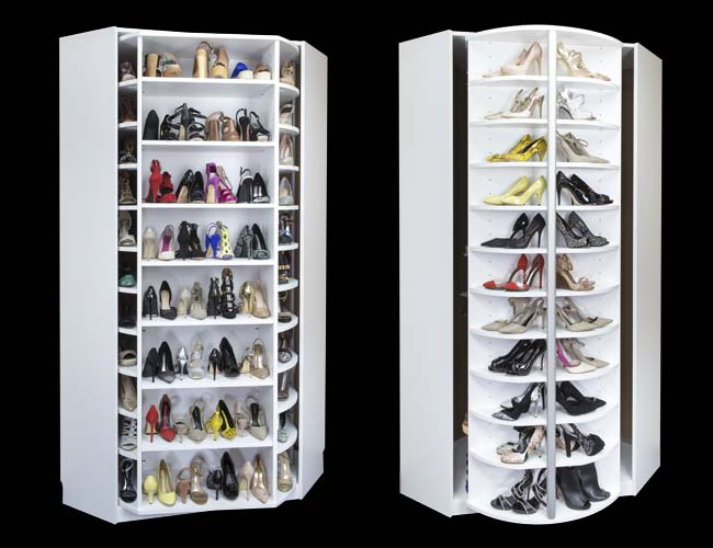 360 rotating shoe closet shown on Rock the Block with Alison Victoria