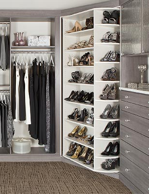 custom closet organizer - 360 Organizer shoe spinner shoes closet system