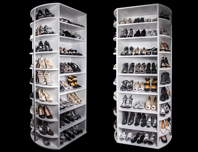 360 rotating shoe closet demonstrated on Rock the Block with Alison Victoria