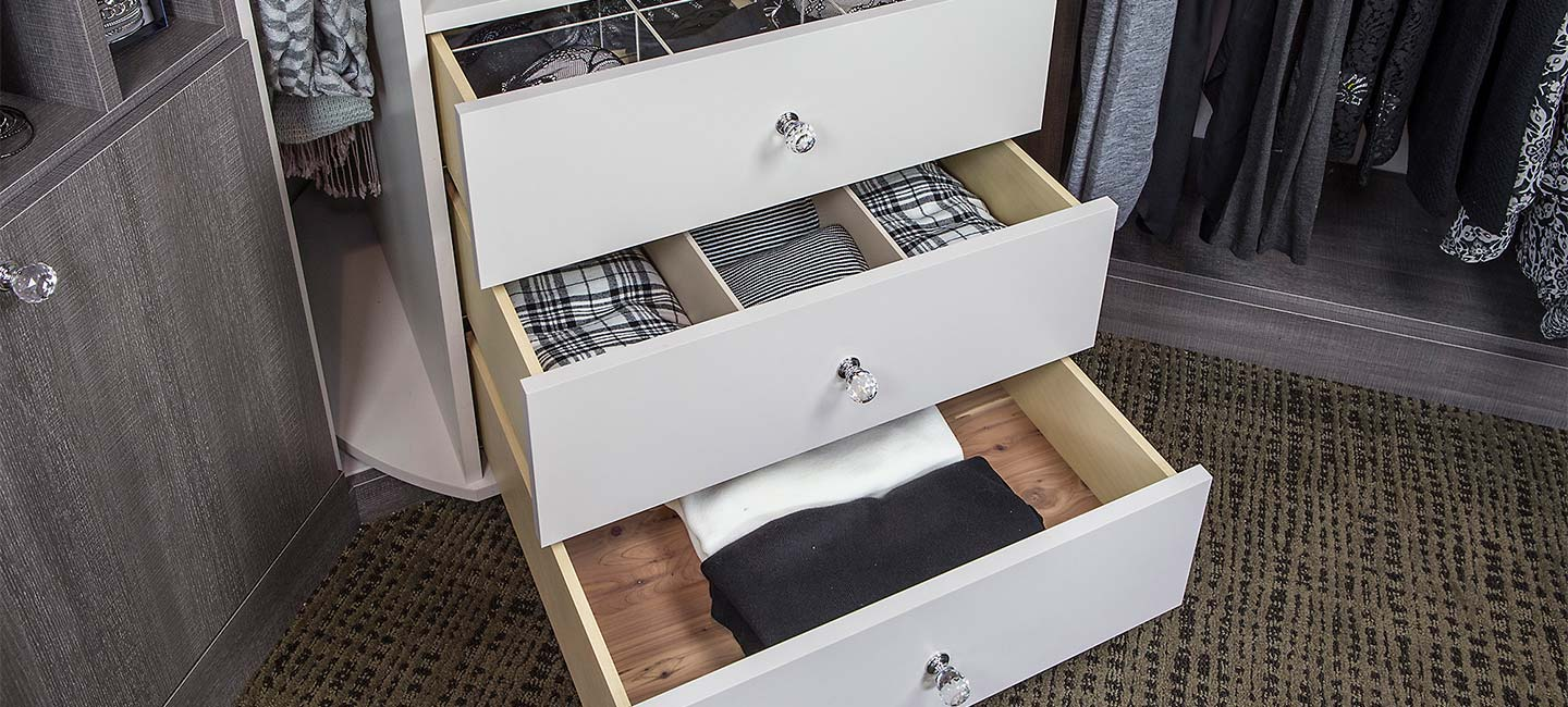 The 360 Organizer Valet comes with three drawers in the standard configuration