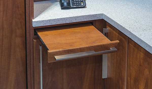 Pull-out shelf for bedside, desk or wall-unit