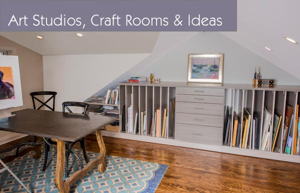 Art studios and craft rooms with custom storage systems