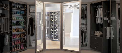 Built-in three way mirror for closet