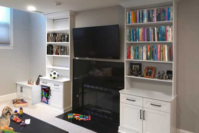 home storage shelving solution around fireplace for family room