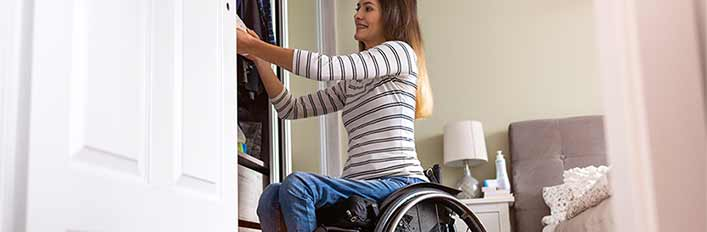 closet with wheel chair