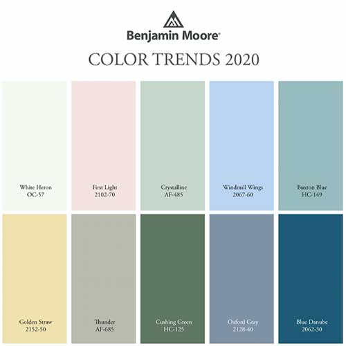Interior color schemes for 2020 from the Benjamin Moore paint company