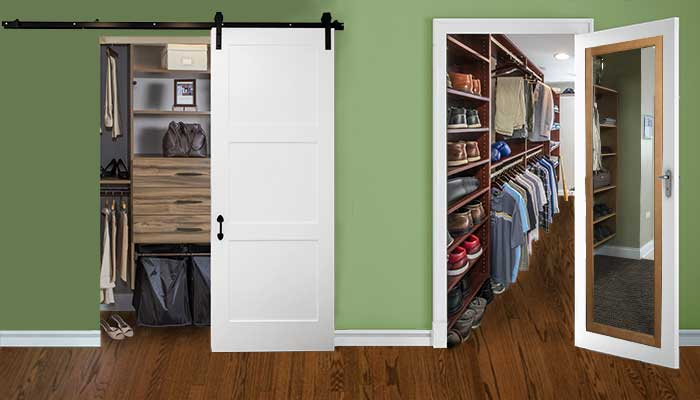 Small closet ideas include replacing doors with swing out or barn doors