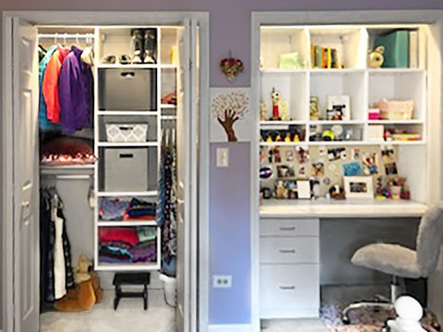 Reach in closet remodeling ideas: closet into desk conversion