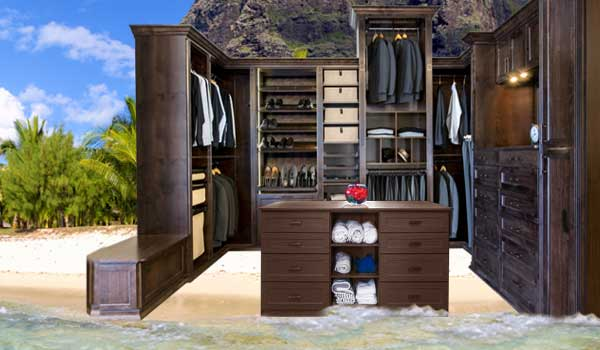 Closet on an island