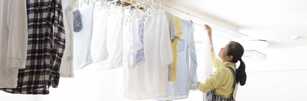 Wall mount drying rack for clothes.