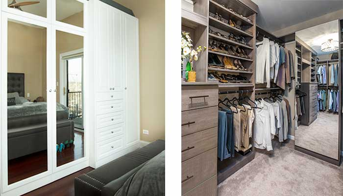 Interior vs. exterior closet mirrors