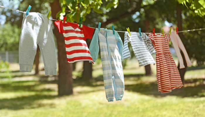laundry drying on clothes line