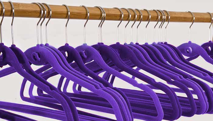 Slim line velvet hangers for getting more clothes in the closet