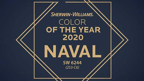 Sherwin Williams color of the year for 2020 is Naval Blue