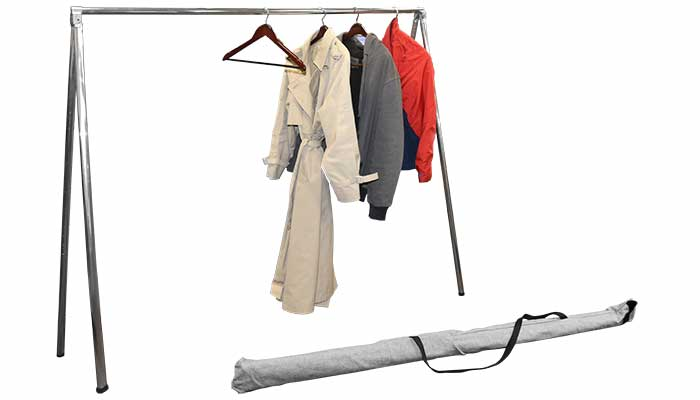 A temporary clothing rack helps with spring closet cleaning