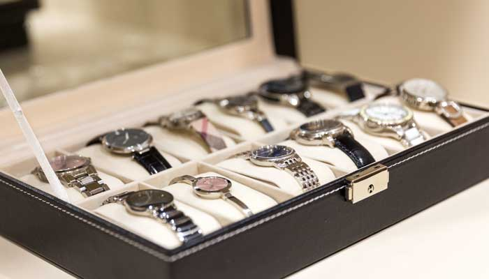 Watches stored in a watch box