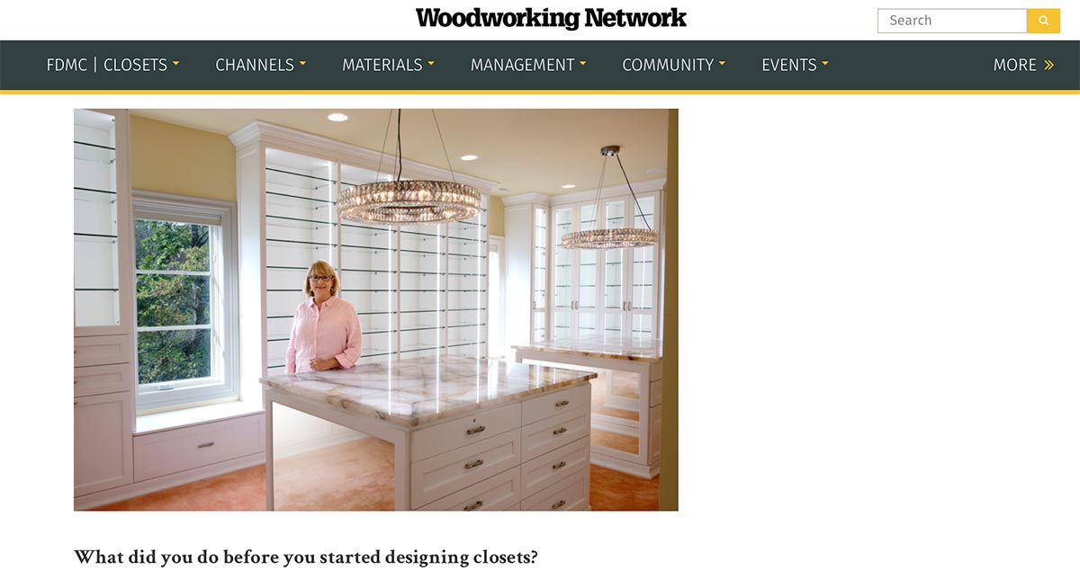Closet works featured in Wood Working Network Magazine