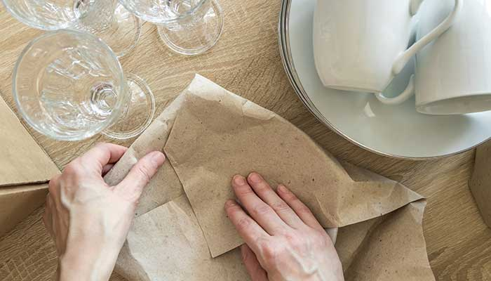 wrap dishes carefully before before packing away