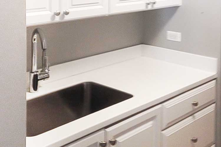 Laminate countertop with backsplash and sink cutout