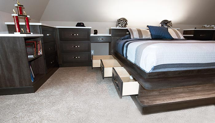 Custom platform bed with drawers for storage