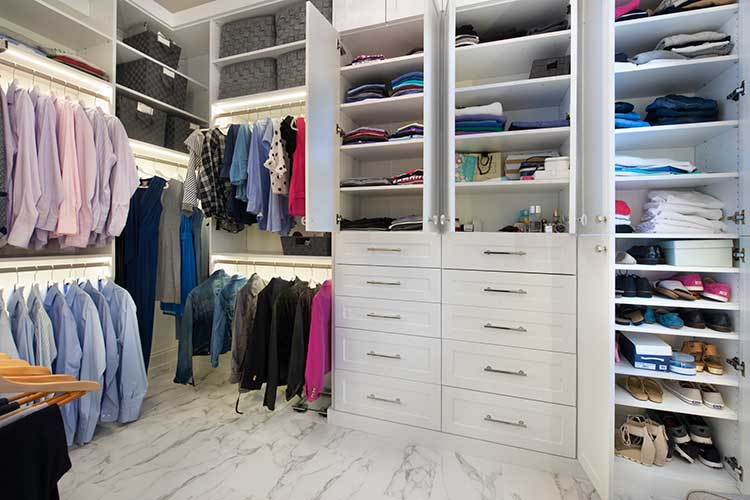 Walk in closet organizers for historic home renovation