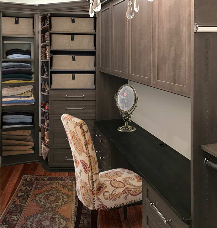 built-in desk in closet