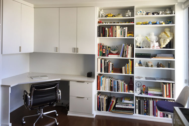 design a home office with plenty of storage