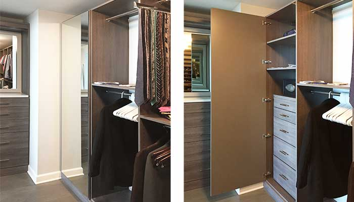 Mirrored cabinet with safe