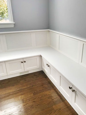 kitchenette design with custom wainscotting