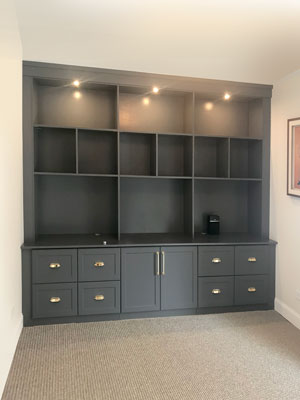 moonlight and gold custom office wall unit