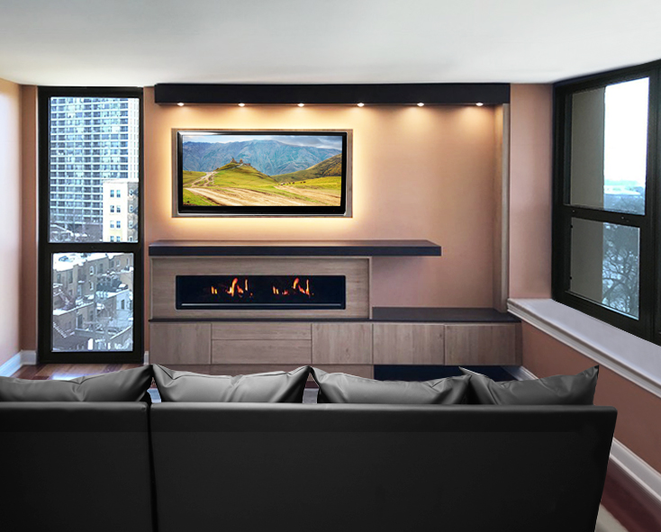 Combination modern entertainment center and electric fireplace surround with lighting