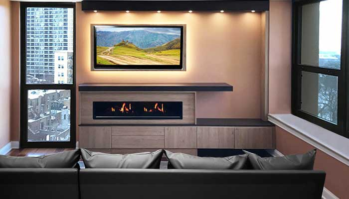 Entertainment center with electric fireplace