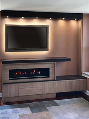 fireplace surround with backlit tv mount