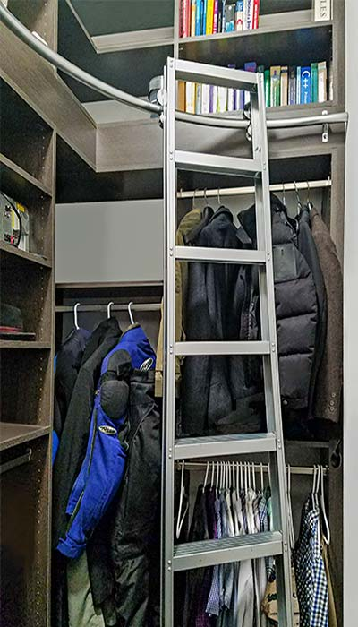 Small walk in closet ideas with closet ladder for high ceilings