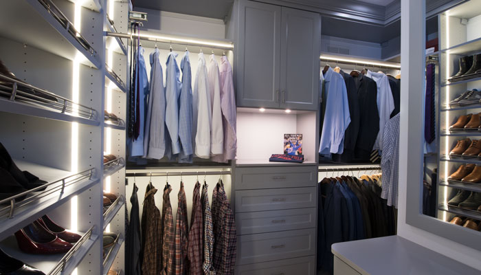 His side full view of custom closet systems