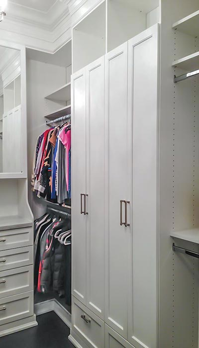 Custom closet built in hutch with mirror