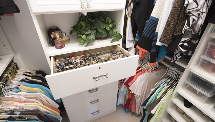 closet remodeling home improvement project with drawers and custom jewelry organizer
