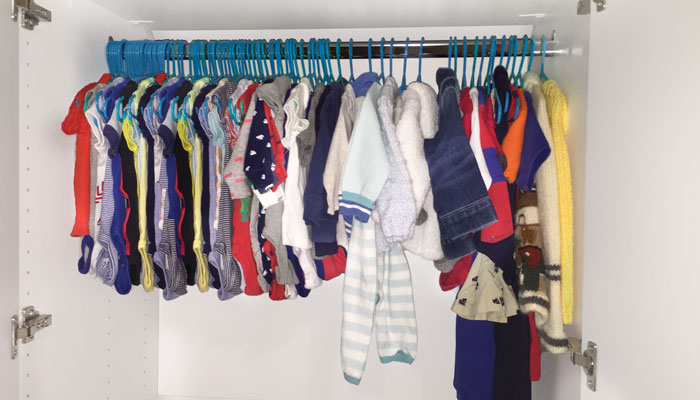 custom hanging rod for nursery closet