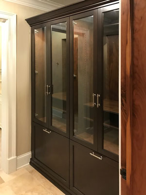 men's walk-in closet cabinet unit with glass inserts