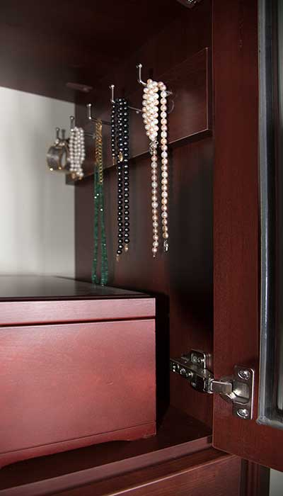 jewelry hooks on cleat for jewelry organization in wall closet system