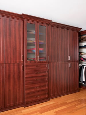 walk-in closet cabinet unit with reeded glass inserts