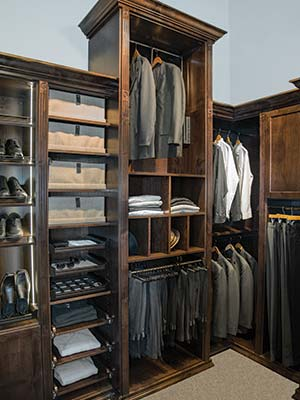 mens all wood closet with led strip lighting