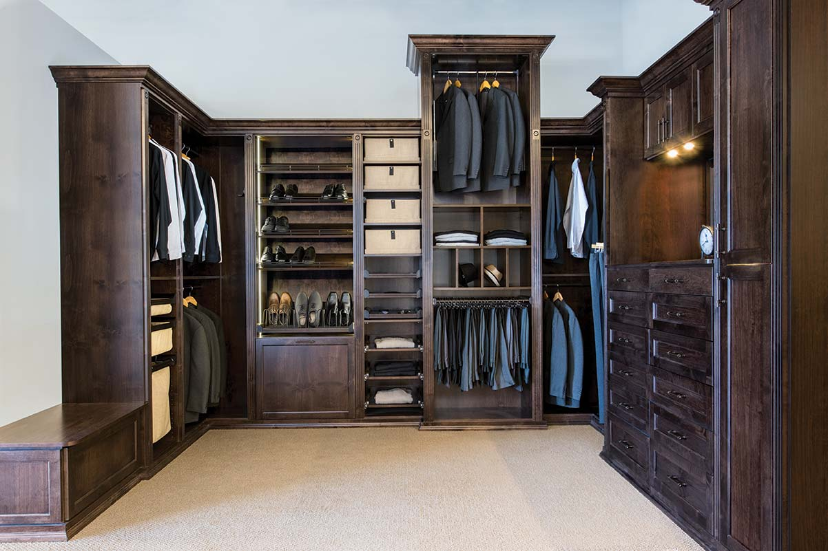 custom master closet with all wood components