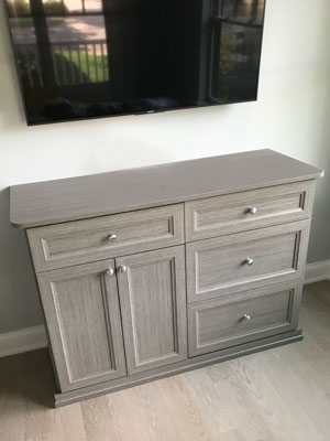 custom credenza and wall unit in haze laminate