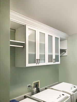 laundry room cabinets with frosted glass inserts