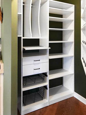 pantry with pantry accessories and custom spice rack